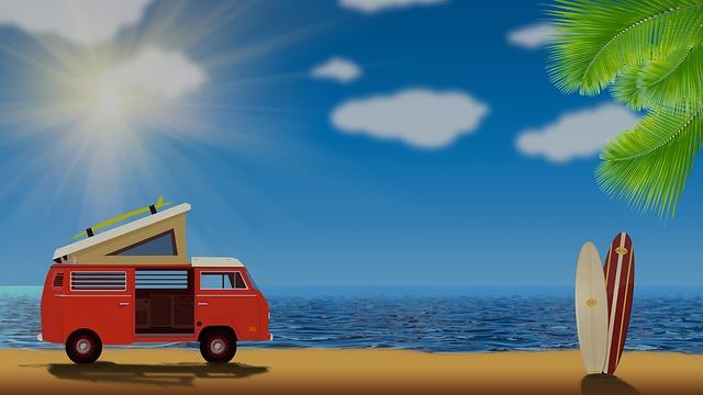 volkswagen na pláži